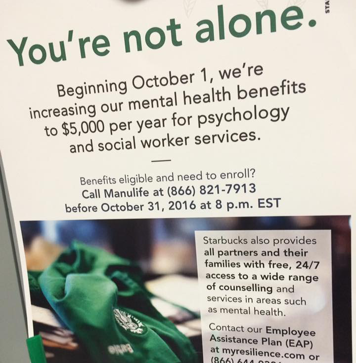 Starbucks Covers The Actual Cost Of Mental Health Therapy For